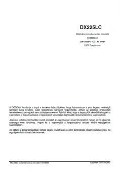 DOOSAN DX 225 LC  Tier 3 kezelési útmutató