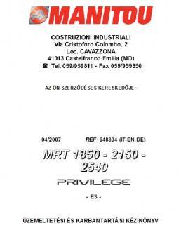 MANITOU MRT 2540 Privilege kezelési útmutató