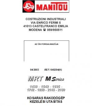 MANITOU MRT 1635 M Series kezelési útmutató